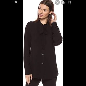 Theory Weekender Black Silk Tie Neck Blouse Small